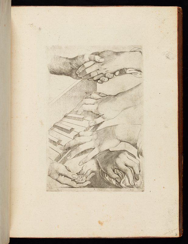artist's copybook with images of body parts, portraits with heads in various positions, babies' heads, and animals; book has mottled golden-brown leather cover with gold stamping; end papers have swirled green, blue, red, and yellow designs; 41 engraved plates
