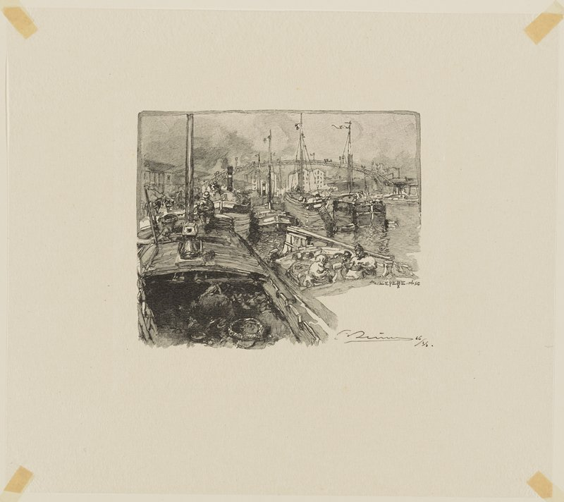 man in a boat, LLC; figures in boat at right; many boats close together in middle ground; tall arcing bridge in background with buildings visible below it