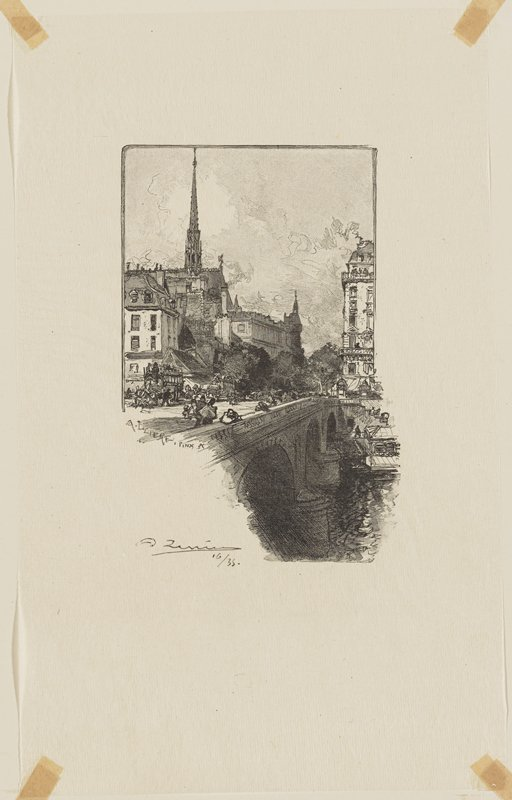 bridge with pedestrians; buildings in background, with tall tower in ULQ