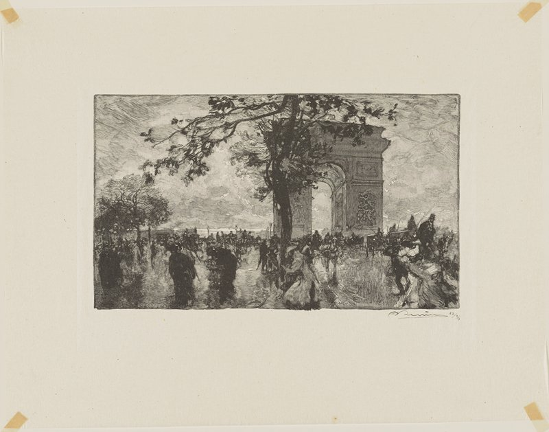 Arc de Triumph with pedestrians and horses; tree at center
