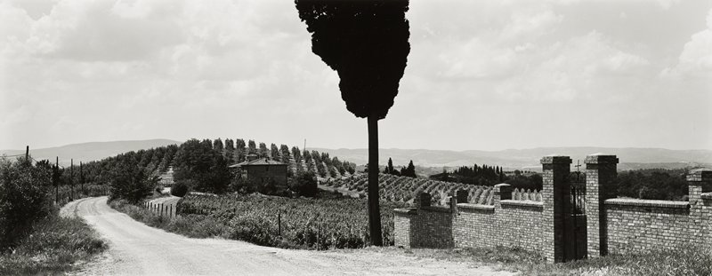 gravel road in the countryside, with orchard at top of small hill in middle ground at left; building in front of orchard; brick walled fence with black wrought iron gate at left; dark silhouette of poplar tree at center