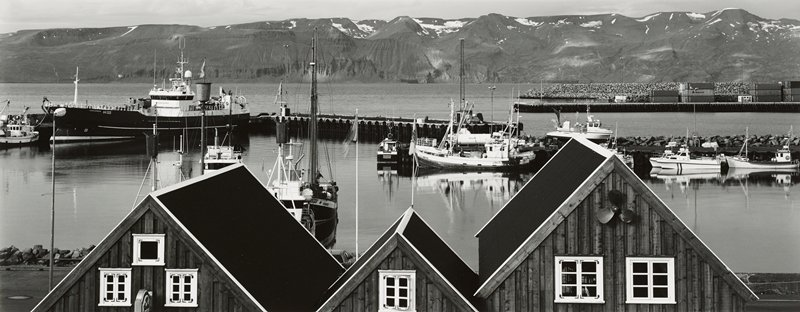 boats in harbor with docks; three gabled roofs in foreground; snow-capped mountains in background; high horizon line