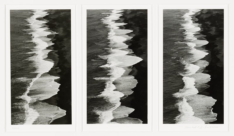 triptych--three vertical format photos mounted together; abstract images with vertical jagged zigzags--ice formations?