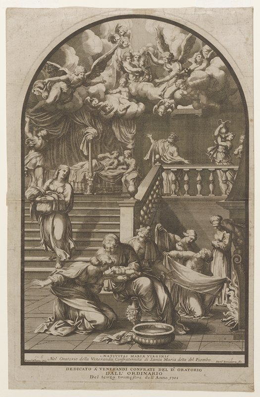 center foreground a group of six women with cloths and a newborn child; on stairs a woman carrying a bundle of cloth; at top of stairs a woman in an elaborate bed with a woman seated at her side; a man and two other figures at right; a man holding draperies at left; above draperies angels and cherubs