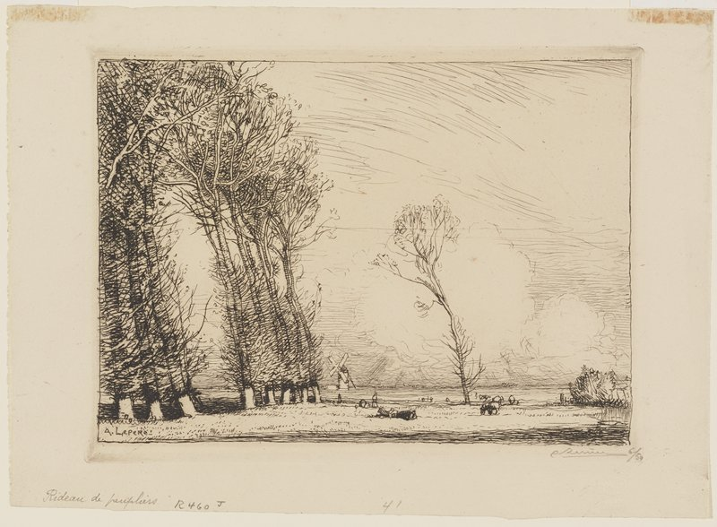tall trees leaning toward the left; windmill at center; low horizon line