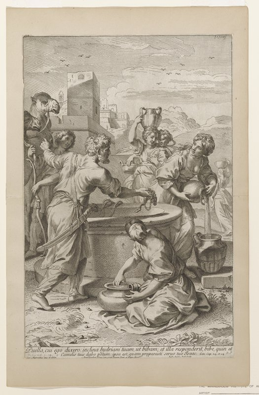 Abraham's servant meets Rebecca at the well and offers expensive presents; points to camels