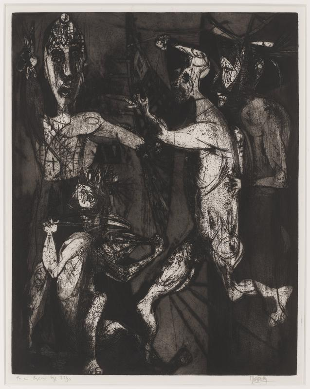 black and white; four highlighted figures, with various mask-like faces and postures in darkened space; wood frame