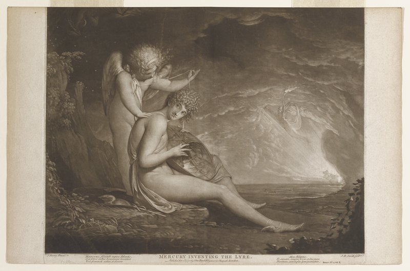 Mercury seated on shore with back to rocks; primitive lyre in lap; cupid behind holding broken string; winged figure ar right carrying flaming torch