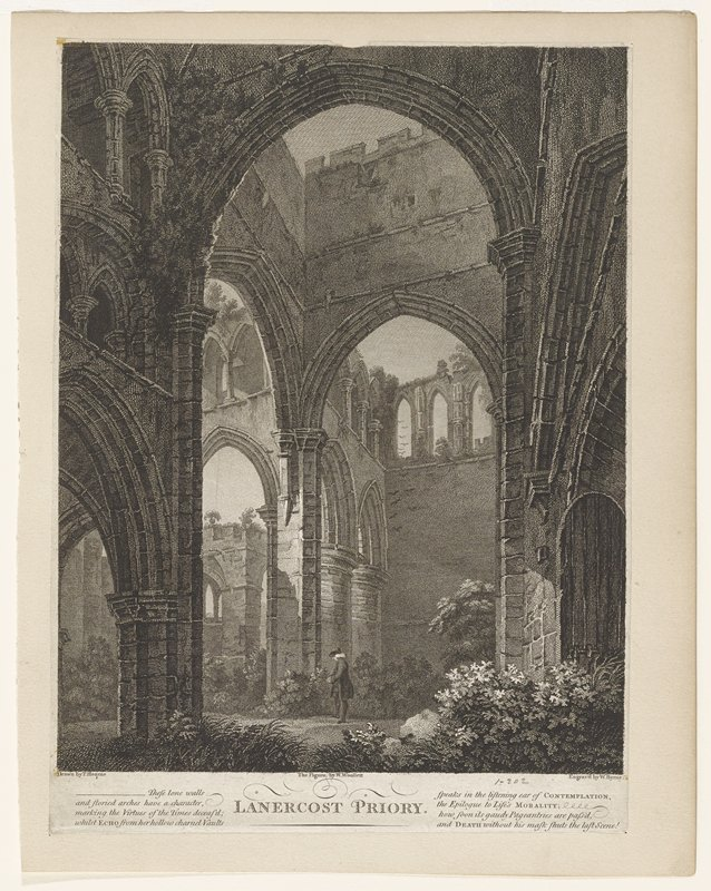 ruins of medieval church; flowers and bushes growing inside; single male figure standing in center looking down