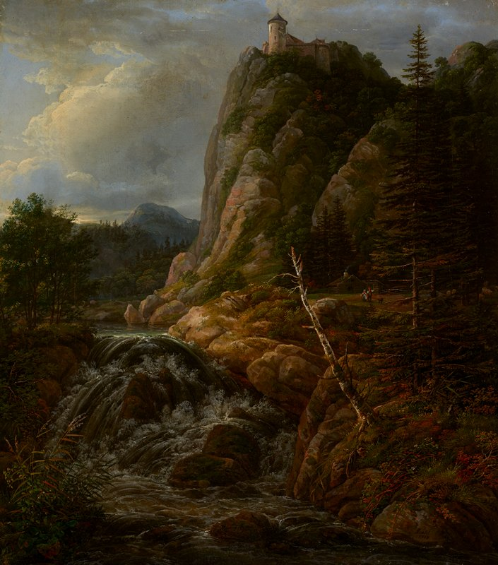 water in foreground cascading over rocks; lake at left middle ground; couple with dog in front of log house at right middle ground, with sheep grazing at right edge; castle on top of rocky peak, top center