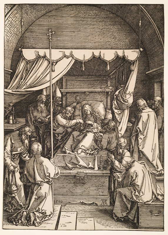 Mary, with long wavy hair wearing a headscarf, lying in canopy bed at center, holding a candle, also held by a man on left; other standing, seated and kneeling figures at left and right--some with hands folded in prayer