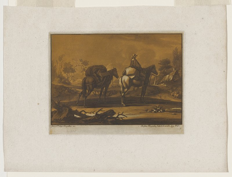 man on horseback with back to viewer leading a pack animal; building ahead of rider to right; small bridge at left; hills in distance left