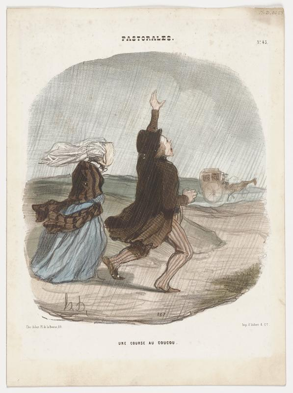 couple in the rain; man is attempting to flag a coach, with his PL arm up, and wears a tan coat, black hat and striped pants; woman at left wears brown shawl, blue dress and white bonnet with veil; coach in the distance at right, with one horse