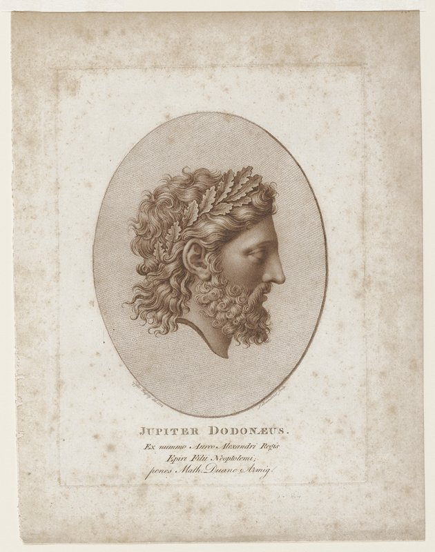 oval image right profile of man crowned with oak leaves