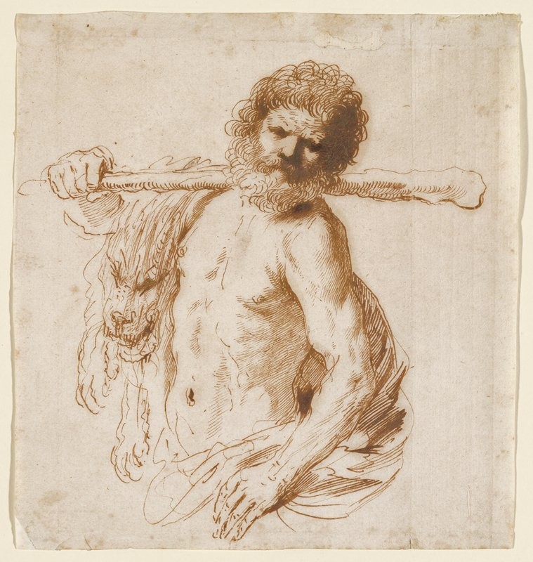 head and torso of bearded man, with curly hair, holding a thin club over his PR shoulder; PL hand on hip; bare-chested, with lion skin over his PR shoulder