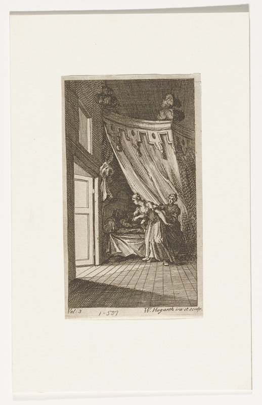 bedroom with two women next to bed; figure in bed; plumes at top corners of bed; elaborate hangings; open door at left