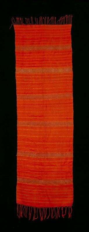 plain weave, horizontal stripes; red cotton