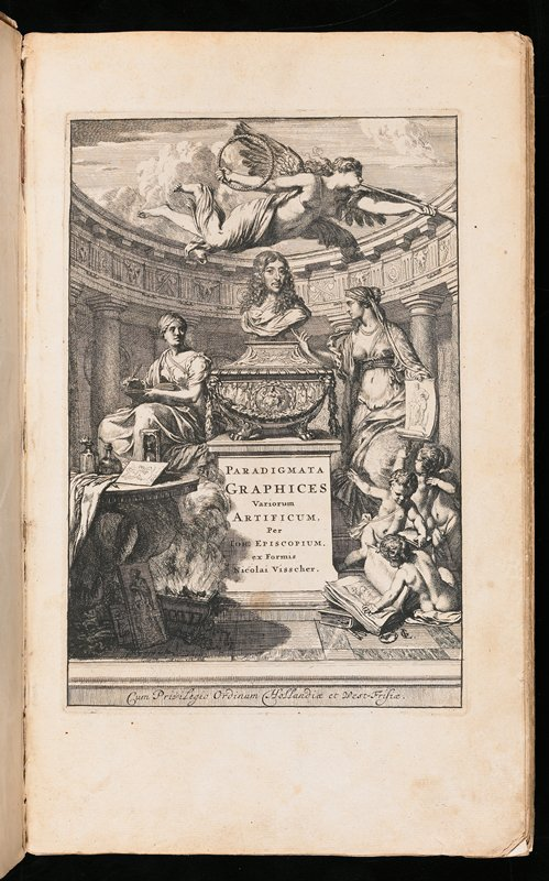 plates of reproductions of classical sculpture with an introduction in Dutch; hard cover; red leather binding; tan cover with red spots (very worn); plate on front page with bust of long-haired man on decorated pedestal with text at bottom, flanked by 2 young women and 4 putti at LRQ; scholars table in LLQ; angel at top center with trumpet and wreath; curved colonnade behind figures