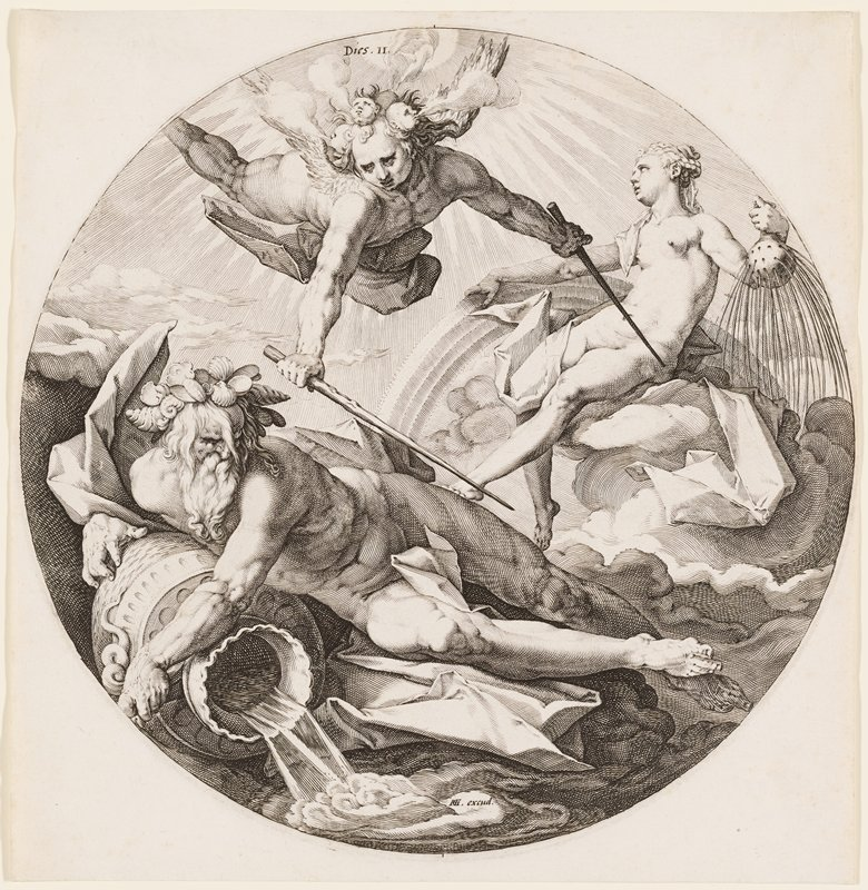 bearded nude male figure in the lower part of image with water coming out of a vessel; nude female figure UR seated on clouds with a rainbow and a gourd; angel with two wands UL
