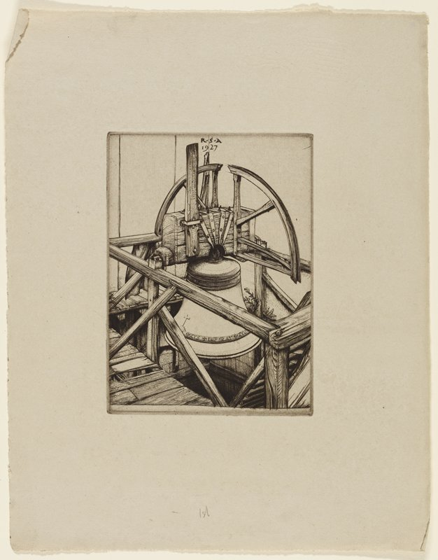 on beige/grey paper; image of a large bell surrounded by wooden deck with railing; suspended from strap over wooden board; arched wooden form above; bell is adorned with a band of Latin text near bottom with a cross (copy of L2013.108.23 // 2013.70.22)