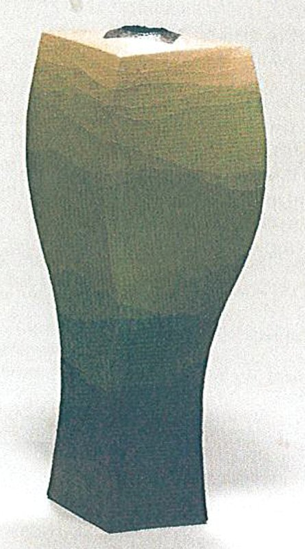 tall, narrow, triangular vase with gently twisting angles; thin layers of colored slip in gradient from dark blue to green, yellow, and pink in cloudlike pattern; thin, tiny strands around opening