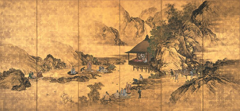 two men seated in a hut on stilts near center; small groups and pairs of other men seated along the rocky shores of a river lounging, or reading; at R, servants pour liquid into vessels on tables; a few drinking cups float along river; rocky, mountainous background