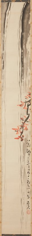 abstracted image of waterfall in long, narrow vertical format; branch with orange-red leaves at right center; ivory roller ends