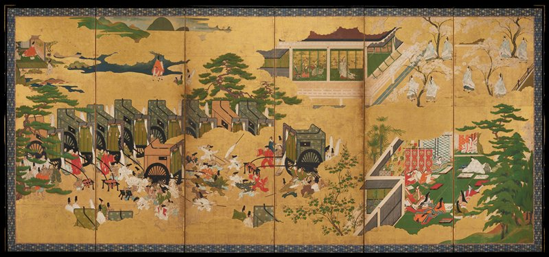 unsigned; right of a pair of six-panel folding screens; many scenes on gold leaf: attendants with carriages at Land center among pine trees and clouds; interior scenes at top: male figure in red inside open walled room; court women at top center with pulled screens; trees; interior scene at R with court women in large robes admiring art on scrolls; group of robed men among blossoming cherry trees at UR
