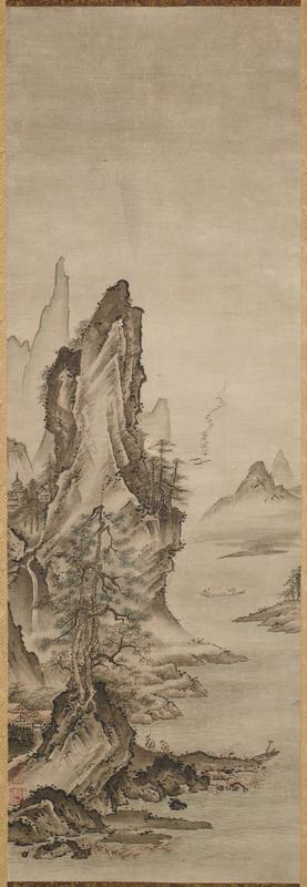 one of a pair of landscapes; once grouped with white-robed Kannon that was placed in center; left landscape; rocky cliff at LR with trees and boulder below; to men crossing an arched bridge near LL; small building in background; far background a misty rock outcropping with pine trees