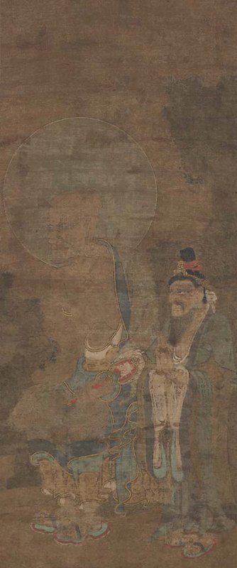 very faded image; bald figure with large hoop earring, bushy eyebrows, and large halo in seated position wearing loose robe facing PR; attendant stands at figure's PL with hands clasped in front; long beard, green and gold robe; black hair tied up on top of head with red ribbon and crown