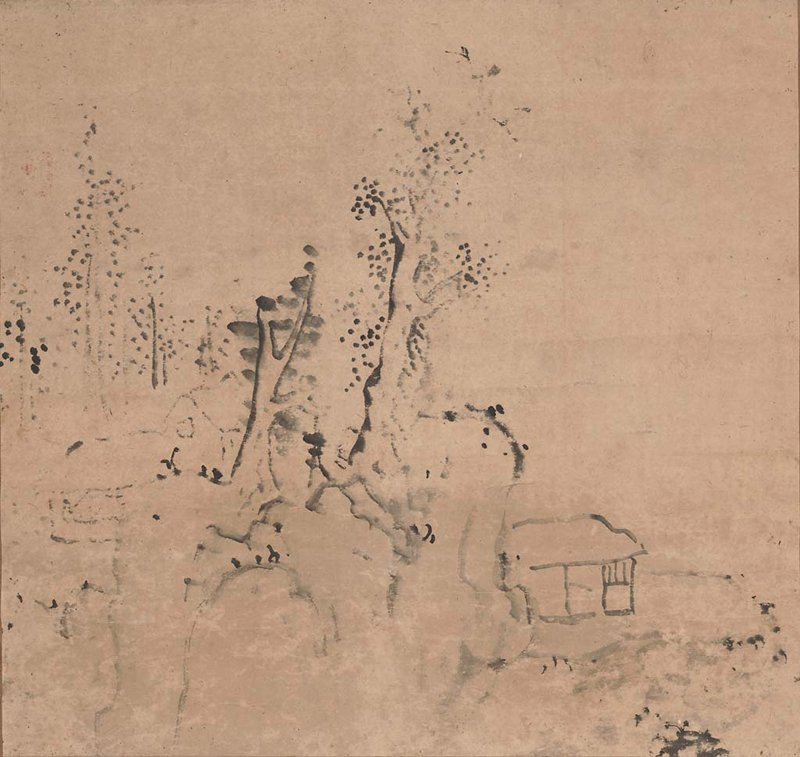 portion of landscape painting: a few trees on a rocky cliff at L; small hut on flat cliff at LRQ; brown mount