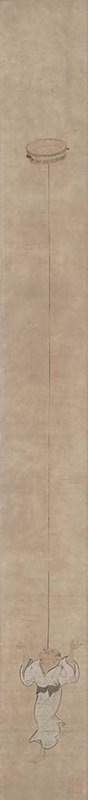 very long, narrow image; short, balding man wearing white robe with light blue crisscross pattern; man is balancing on one foot with both arms in the air; he is looking upwards at a deep plate that is balancing on top of an extremely long pole; pole is resting on his forehead