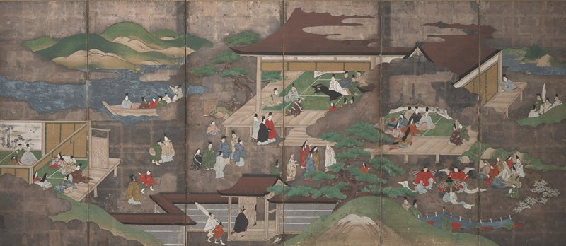 unsigned; many different scenes from Genji, separated by trees, rivers, and silver clouds; from R: men and women in a building with verandah, with a man sitting on the verandah alone looking in with a flower in hand; group of women and performers wearing wings at LR; near center, men seated behind low black table holding meting; men and women outside; at L, people in a boat, and others inside building near screens painted with bamboo motif