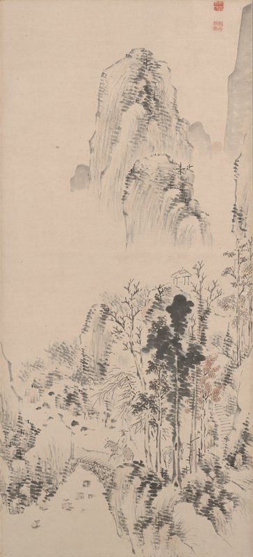 two travelers, one on horseback crossing bridge, the other in blue garment behind, pass through trees with heavy foliage; small open-walled structure on top of cliff near center; tall mountains in background
