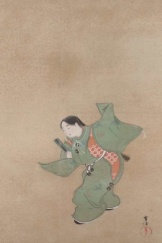 young girl in green robe in dancing pose; fanlike object in PR had; PL hand in air