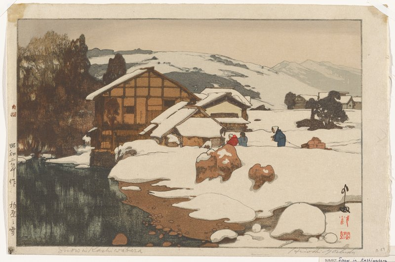 snowy pastoral scene: three human figures, one towing a sleigh loaded with packaged goods, make their way through the snow and into a snow-covered house; collection of buildings at center; trees and other buildings in distance at R; mountains in background; river and trees at R