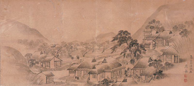 six sheets of paper affixed together; village scene with thatch-roofed buildings and people working; small orchard in middle ground at left; mountains in background; khaki and blue mount; ivory roller ends