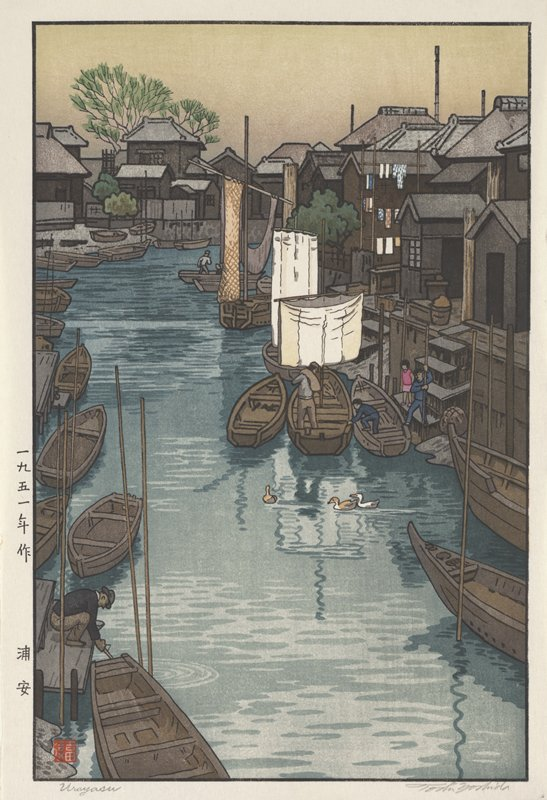 canal with boats lining each side; houses along R side and in background; figures working on and around boats; three ducks swimming at center