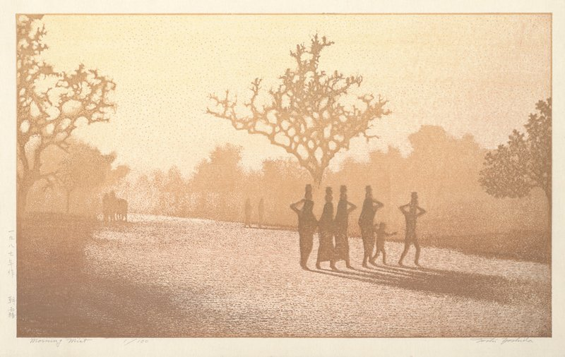 image in tans and oranges of silhouettes of five figures carrying jugs on their heads, accompanied by a child, right of center; silhouettes of trees; two other groups of figures in middle ground
