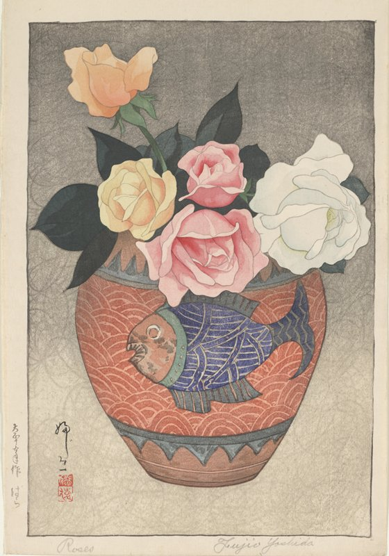 wide red vase with blue fish design holding white, pink, orange, and yellow roses; gray background