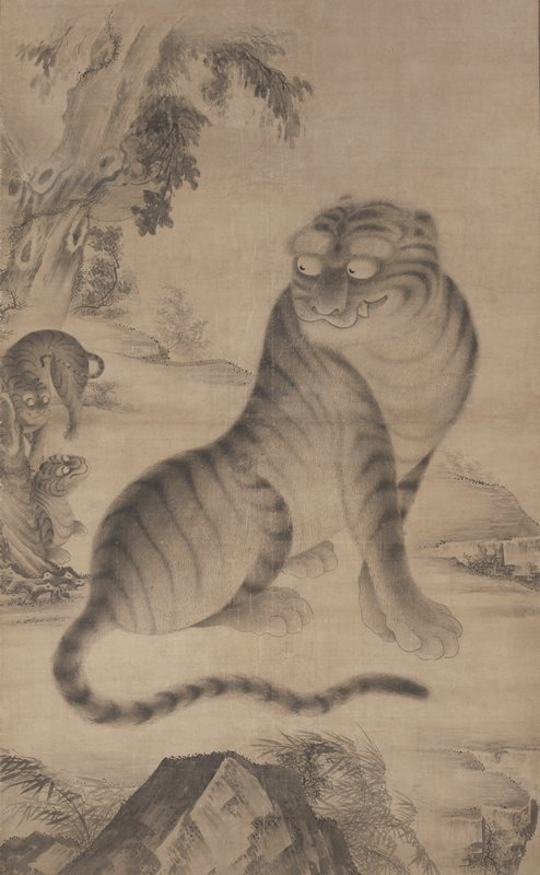very large scroll with female tiger seated at center looking over PR shoulder toward two curious cubs at L edge; large tree with holes in trunk ULQ; tigers appear to be standing on cliff; rocks and bamboo at bottom of scene