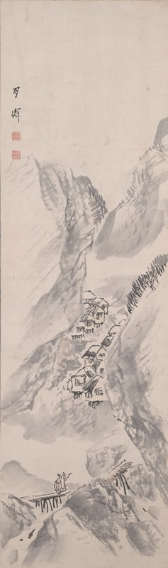 mountain village scene; steep mountains at L and R; wide valley with two rows of huts at center; two male figures walk across a wooden bridge at LL