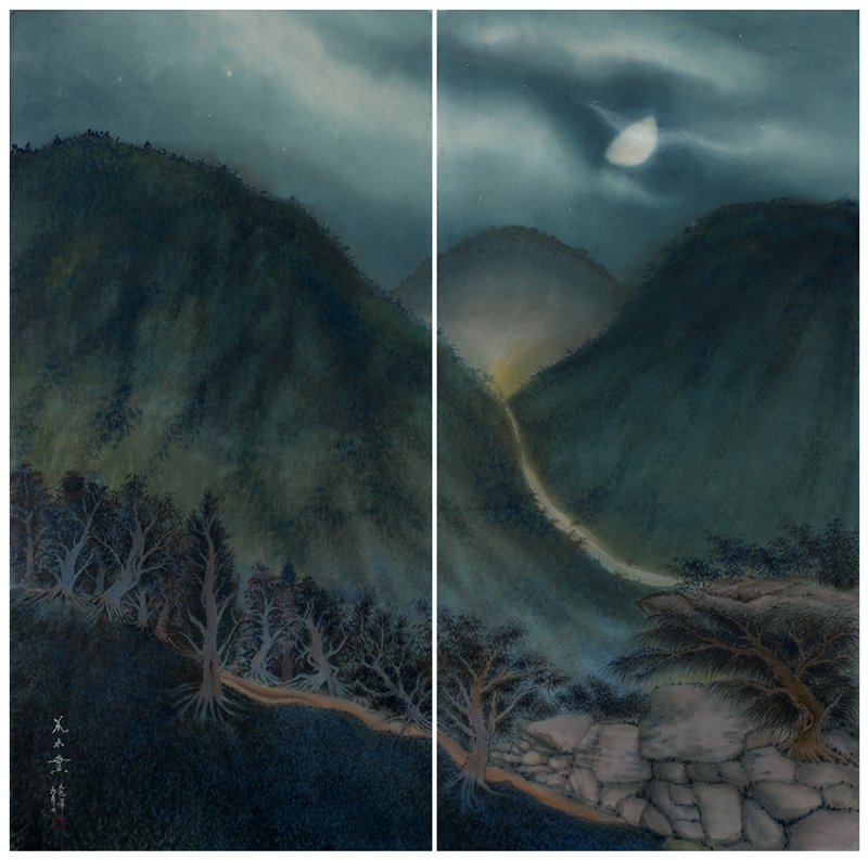 L panel: night scene of dark, gnarled, twisting trees on a slope in lower quadrant; darkened sloping hills covered in trees in background; light clouds highlighted with silver; small silver spots in sky; R panel: dark, tree-covered mountains with silver stream cutting through LLQ; two trees at bottom growing amid large, square boulders; bright half-moon top center with wisp-like silver cloud and silver stars