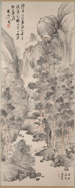 small cluster of houses, two with a red table visible, at center within grove of pine trees; figure in white crossing bridge at bottom; high cliffs on either side