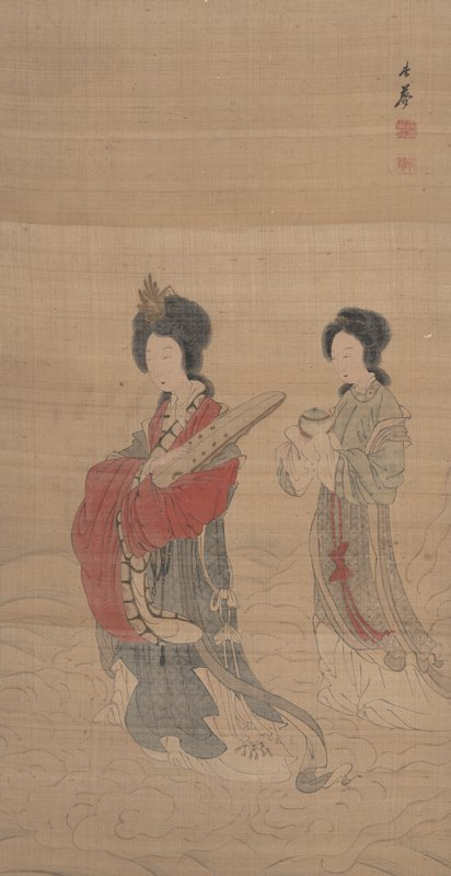 two women walking on bank of clouds; first woman (at L) wears sumptuous blue, white, and red robe and cradles a large object in PL arm; second woman wears a simpler green and white dress; carefully carrying a covered bowl in two hands, which are wrapped under her long sleeves