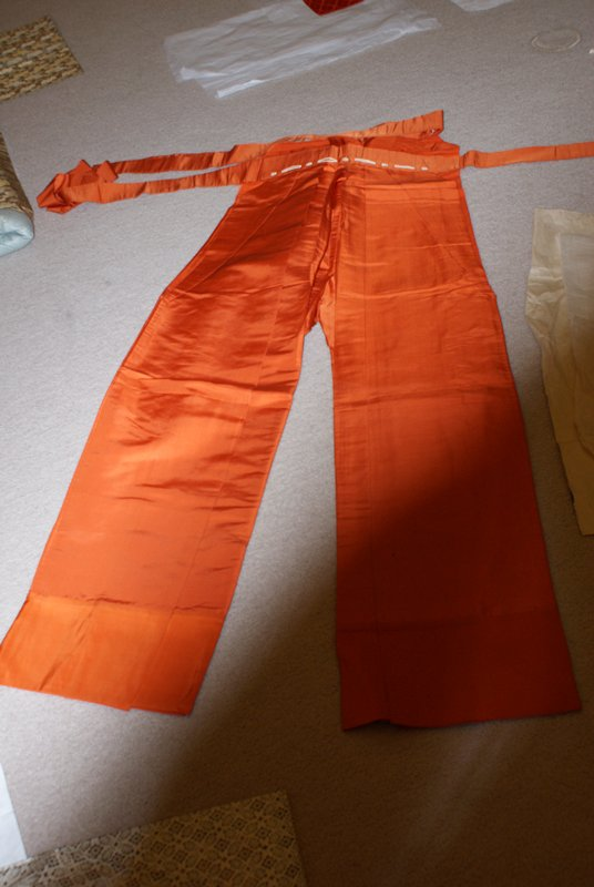 orange pants with pleated, very wide legs