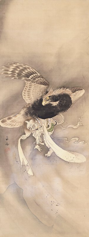 grey and white bird carrying demon-like figure in its talons