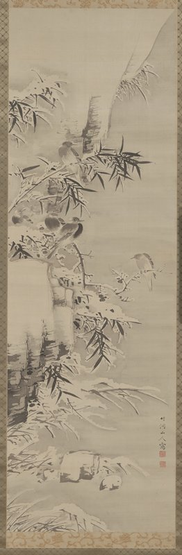 five small birds perched on snow-covered bamboo and a small crooked branch growing from side of a cliff; birds facing different directions; snow-covered grasses and rocks in lower portion