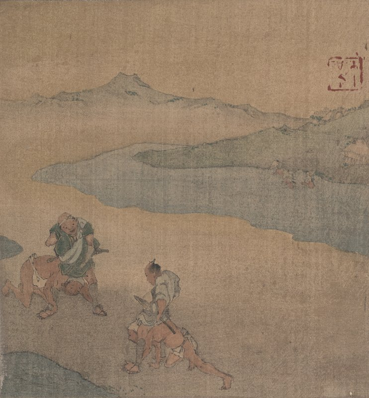 two men carrying a closed palanquin over a small bridge at LR; two messengers ahead; another figure approaches on small bridge at LL; green mountain with trees and riverbanks in background