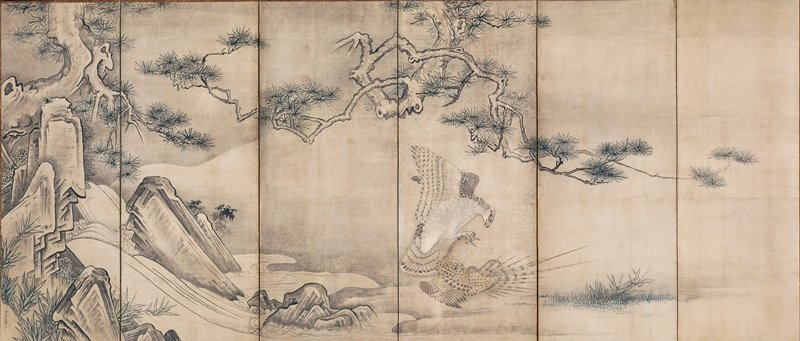L screen: gnarled, twisting pine tree at L, with branches extending across multiple panels; rocks at L; hawk at lower center attacking a small goose, its talons digging into the goose's face, mouth, and neck; hawk is lifting bird out of water